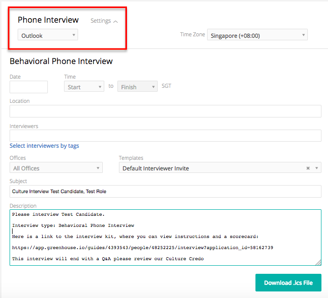 Input Your Interview Information, Including The Date, Time, Interviewers,  Etc