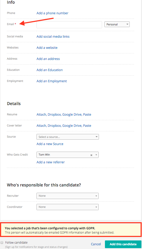 Email Gdpr Information To Candidates Greenhouse Support