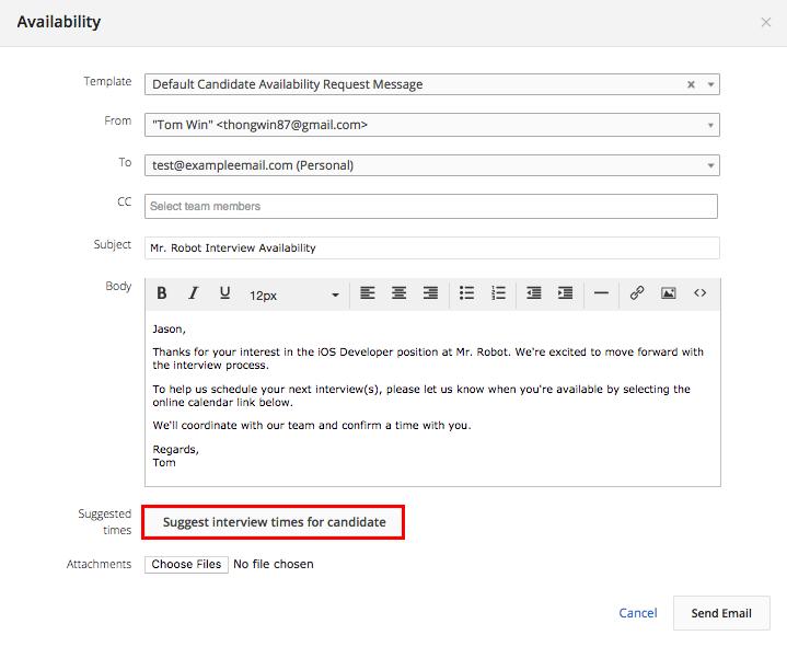 Request Candidate Availability (Google Calendar