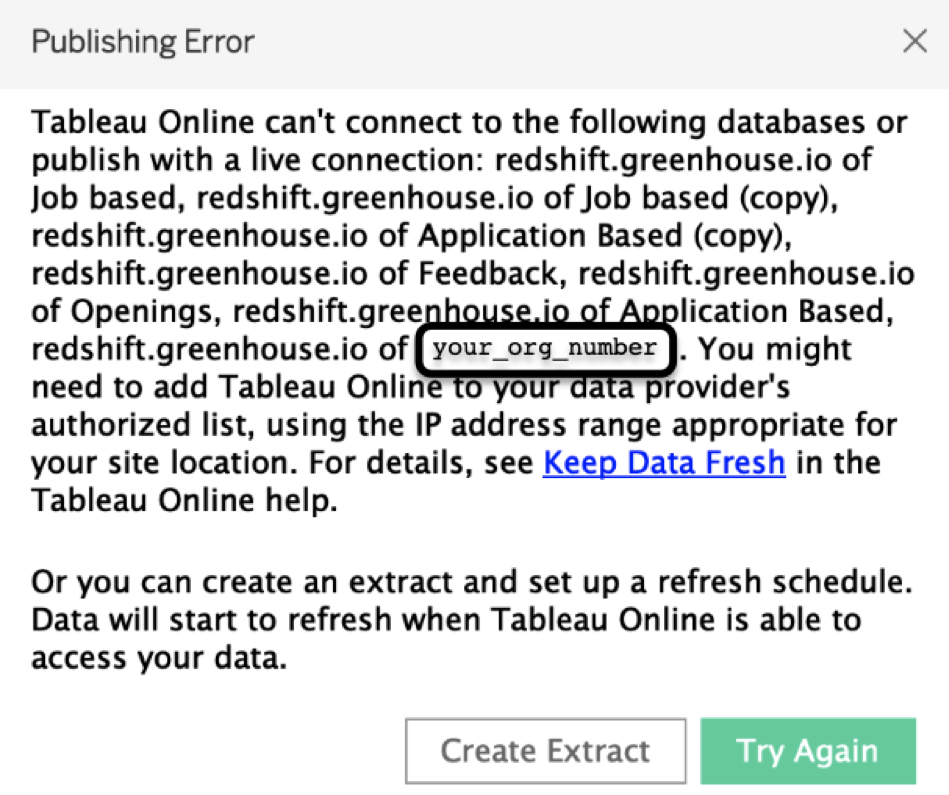 Connect Tableau to Greenhouse Database – Greenhouse Support