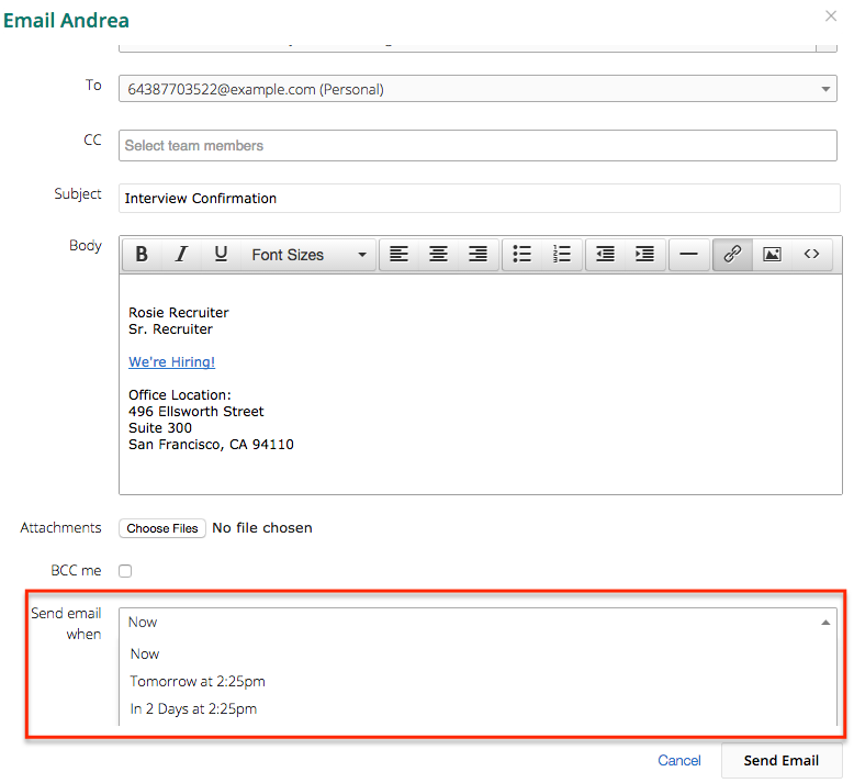 how do i schedule a candidate email to be sent at a later date time