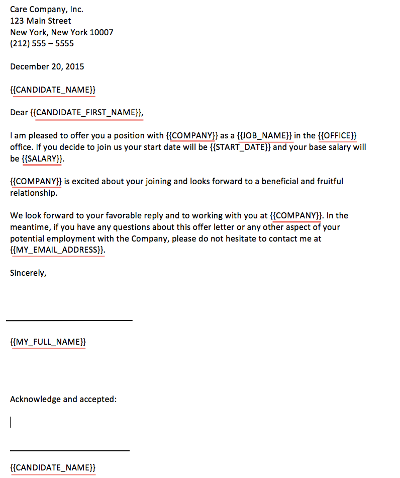 heres an example of an offer letter template in word