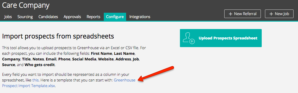 upload prospects from excel greenhouse support