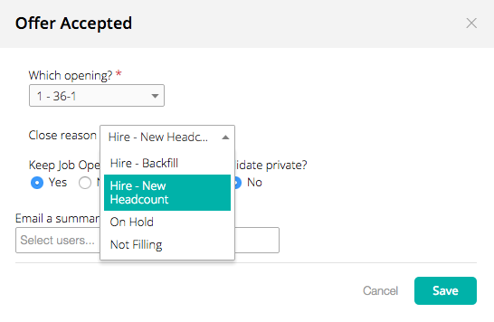 when lowering the number of openings on the job setup job info page you will also see a similar dropdown that lets you pick a reason for each of the